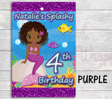Mermaid Birthday Capri Sun Juice Labels-Mermaid Juice Labels-African American Mermaid-Mermaid Birthday-Mermaid Party-Splish Splash Birthday