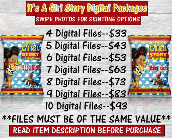It's A Girl Digital Packages-Toy Story Digital Package-Chip Bag-Rice Krispie Treat-Capri Sun-Water Label-You Print Only-Digital Printables