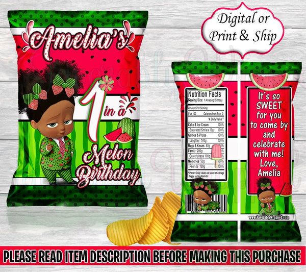 One in a Melon Chip Bag-One in a Melon Birthday-One in a Melon Party-One in a Melon Party Favors-Watermelon Treat Bag-Watermelon Favor Bag