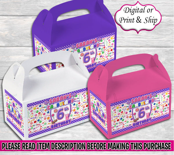 Candyland Gable Box-Candyland Birthday-Candyland Party-Candyland Party Favors-Candyland Treat Box-Candyland Favor Box-Candyland Baby Shower