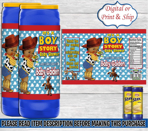 Its a Boy Story Stax Chip Label-Its a Boy Story Chip Bag-Toy Story Stax Chip Labels-Toy Story Baby Shower-Baby Shower-Its a Boy