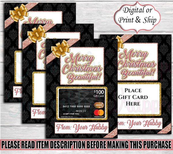 Pink and Gold Christmas Gift Card Holder-Christmas Gift Card Holder-Christmas Gift Bag-Merry Christmas Gift Bag-Gift Card Holder