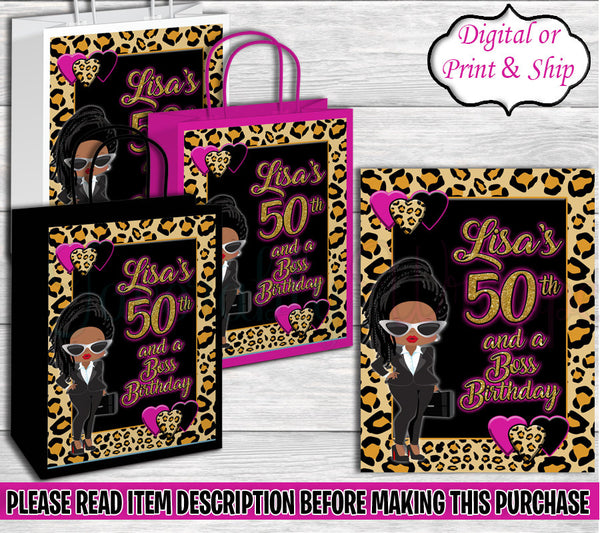 Boss Birthday Gift Bag-Adult Boss-Adult Boss Birthday-40th Boss Birthday Party-40th Birthday-Boss Baby Gift Bag-Cheetah Boss Baby