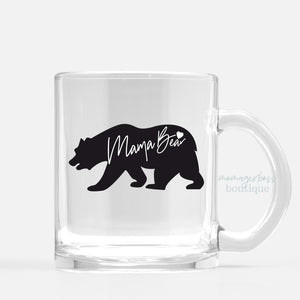 Black Mama Bear Mug (Glass)