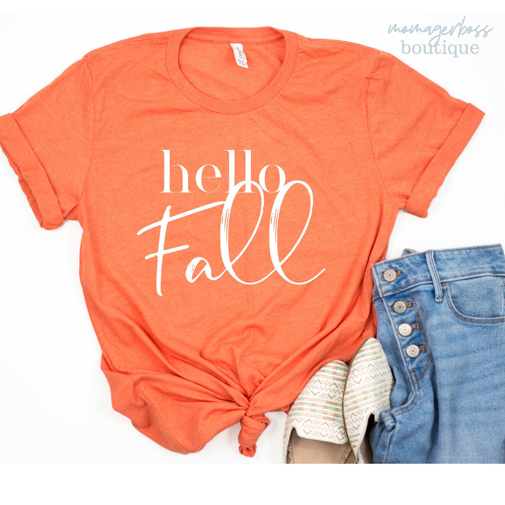 Hello Fall Shirt | Fall T-Shirts | Mom Fall Shirts | Gift Mom