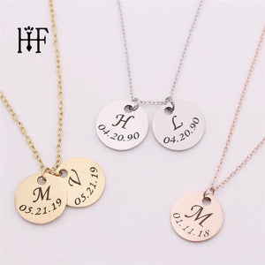 Personalized Initial Necklace Stainless Steel Silver Custom Date Disc Pendant Necklace Women Chocker Collier Femme Boho Jewelry