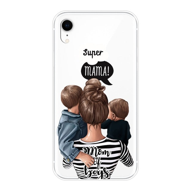 For iPhone 6 S 6S 7 8 X XR XS Max Case Silicone Black Girl Baby Women Mom Soft Cover For Apple iPhone 8 7 6S 6 S Plus Phone Case