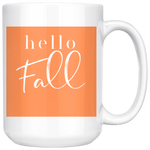 Hello Fall Orange and White Mug