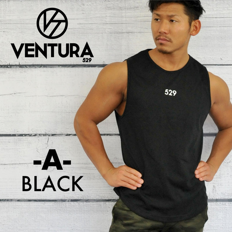 VENTURA  SHOULDER TANKTOP - BLACK-RED