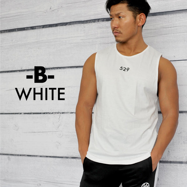 VENTURA  SHOULDER TANKTOP - WHITE-BLACK