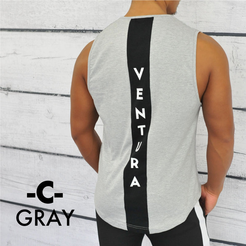 VENTURA  SHOULDER TANKTOP -GLAY-BLACK