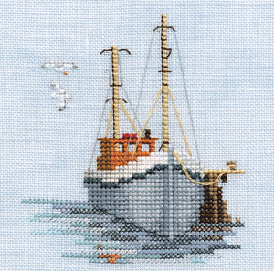 Fishing boat on Linen