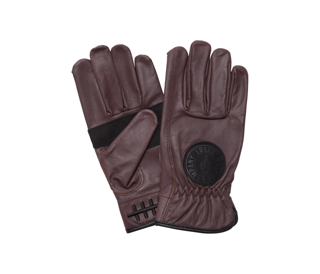 Death Grip Leather Gloves Brown