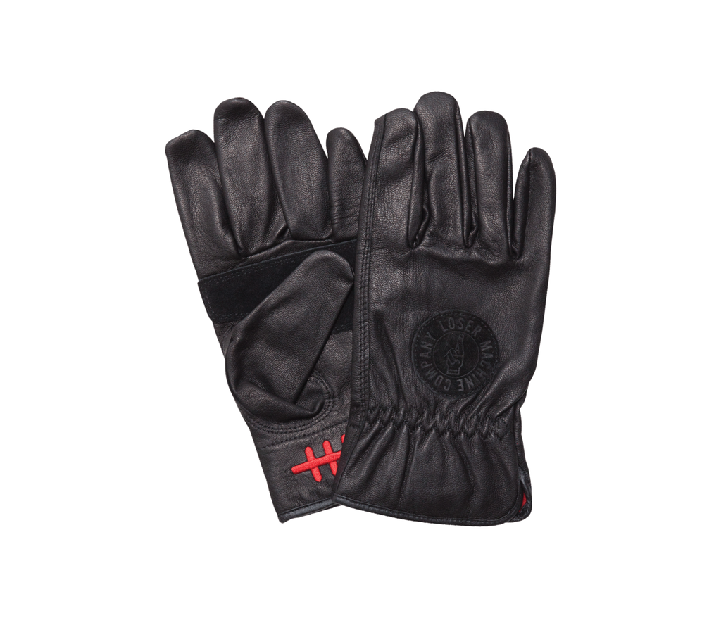 Death Grip Leather Gloves Black