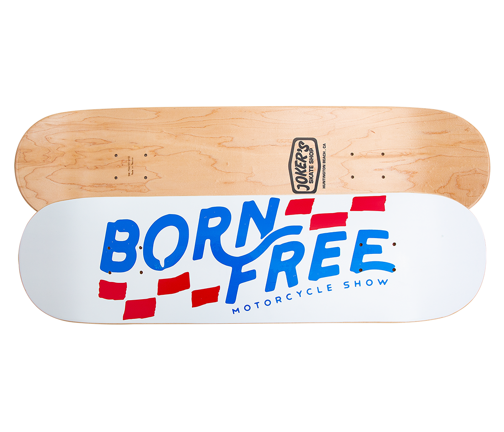 "Born-Free Checkered Deck 8.5"" White"