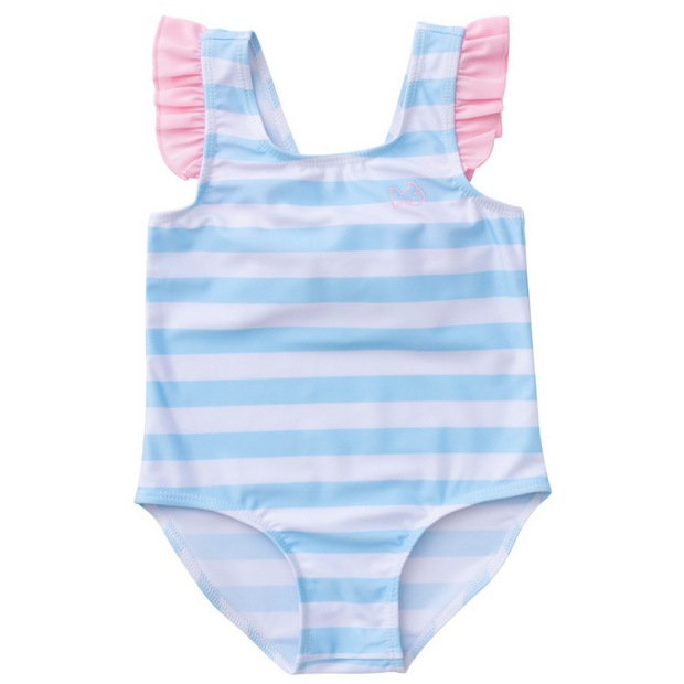 Bow Back Swimsuit in Arctic Stripe