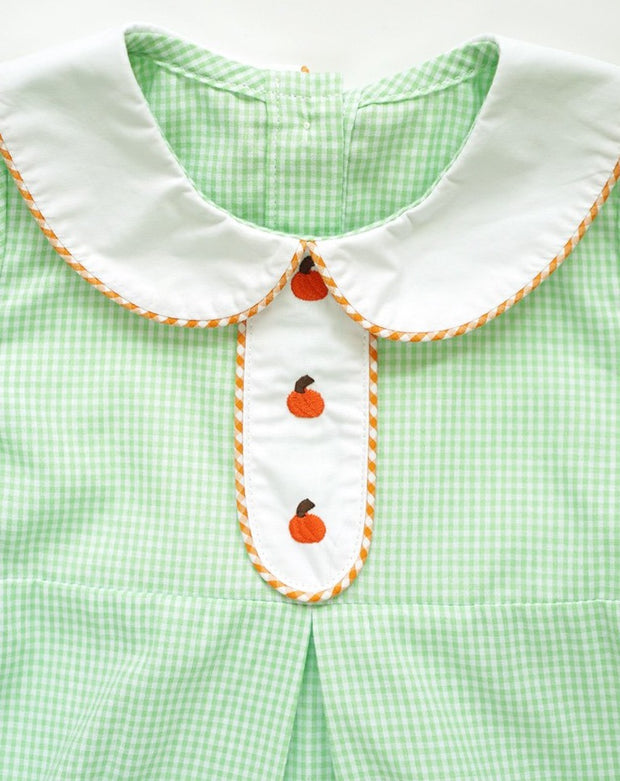 Green & White Gingham Bubble with Pumpkin Embroidery
