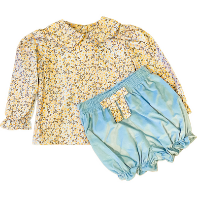 Floral Blouse & Bloomers Set