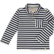 Navy & White Striped Polo