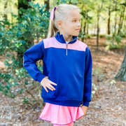 Quarter Zip Pullover in Navy with Pink Gingham