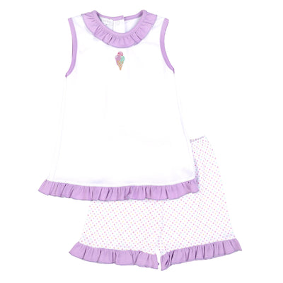 Magnolia Baby Tiny Ice Cream Embroidered Ruffle Short Set