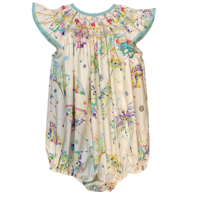 Butterfly Print Bishop Smocked Bubble