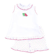 Magnolia Baby One in a Melon Embroidered Sleeveless Short Set