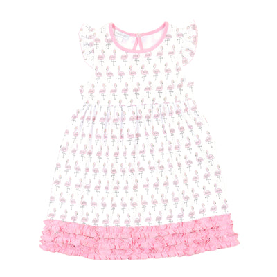 Magnolia Baby Flamingo Printed Ruffle Toddler Dress
