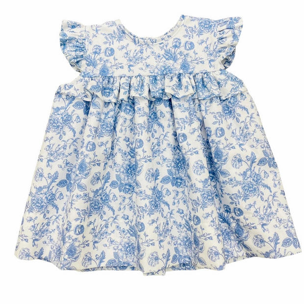 White and Blue Floral Dress