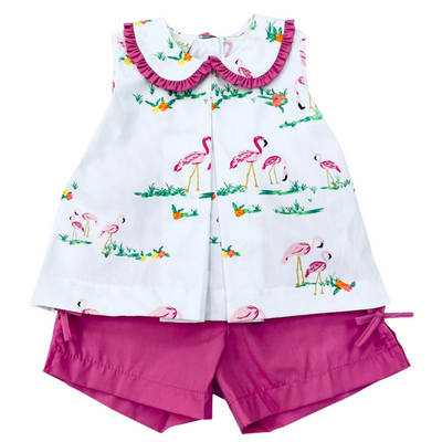 Flamingo Pleated Top & Short Set