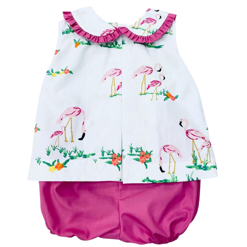Flamingo Pleated Top & Bloomer Set