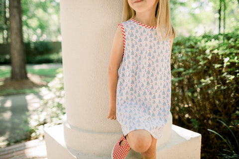 Ann Dress in Sailboat Print