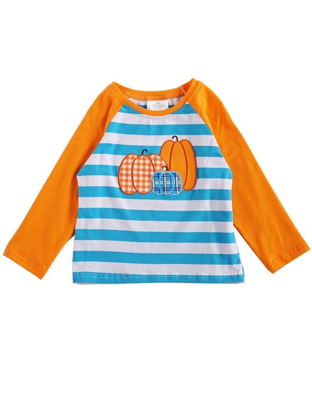 Pumpkin Appliqué Striped Raglan Shirt