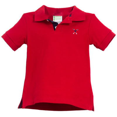 Golf Embroidered Red Pique Polo Shirt