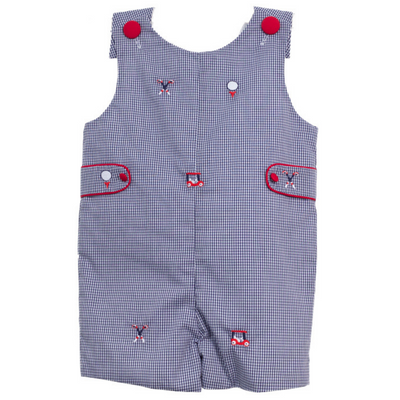 Golf Embroidered Shortall in Navy Mini Gingham