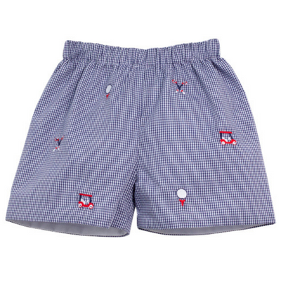 Golf Embroidered Navy Gingham Shorts