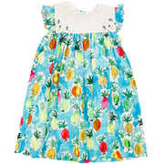 Pineapple Bib Dress with Embroidered Collar
