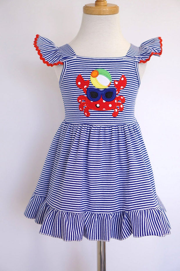 Beach Crab Appliqué Knit Angel Sleeve Dress