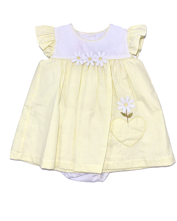 Will'beth Sweet Yellow Stripe Daisy Sundress