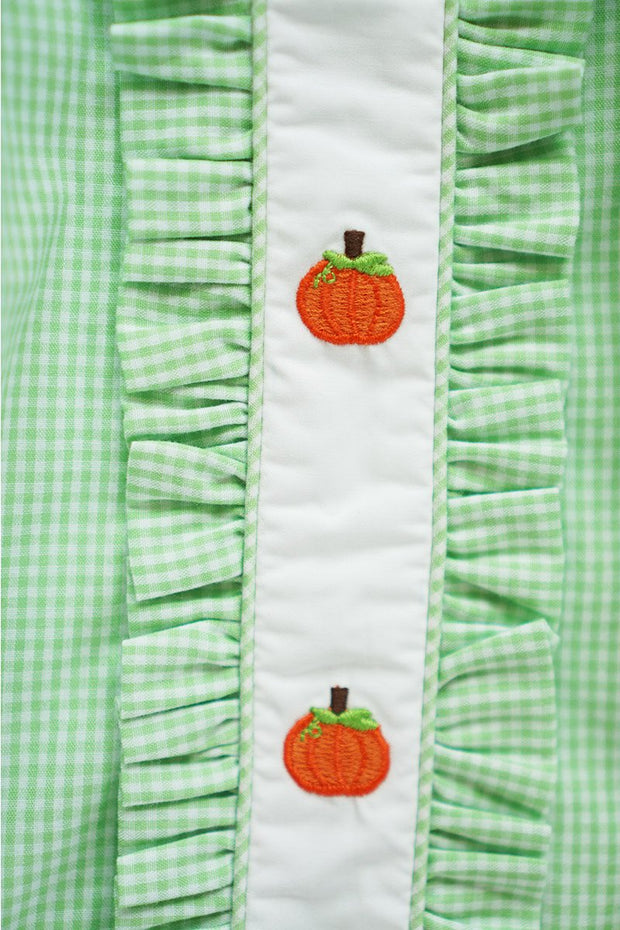 Green & White Gingham Dress with Pumpkin Embroidery