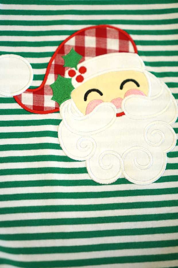 Green & White Striped Santa Appliqué Ruffle Dress