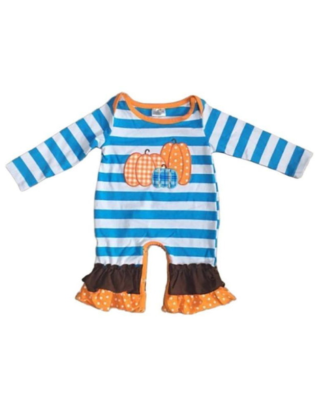 Blue & White Striped Pumpkin Appliqué Layette Romper