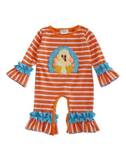 Turkey Appliqué Orange & White Striped Layette Romper