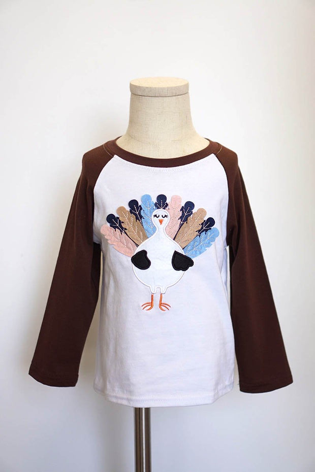Turkey Appliqué Brown Raglan Sleeved Shirt