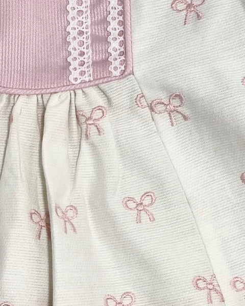 Will'beth 2 Piece White Dress with Pink Bow Detailing