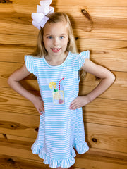 Zuccini Kids Lemonade Appliqué Ruffled Dress