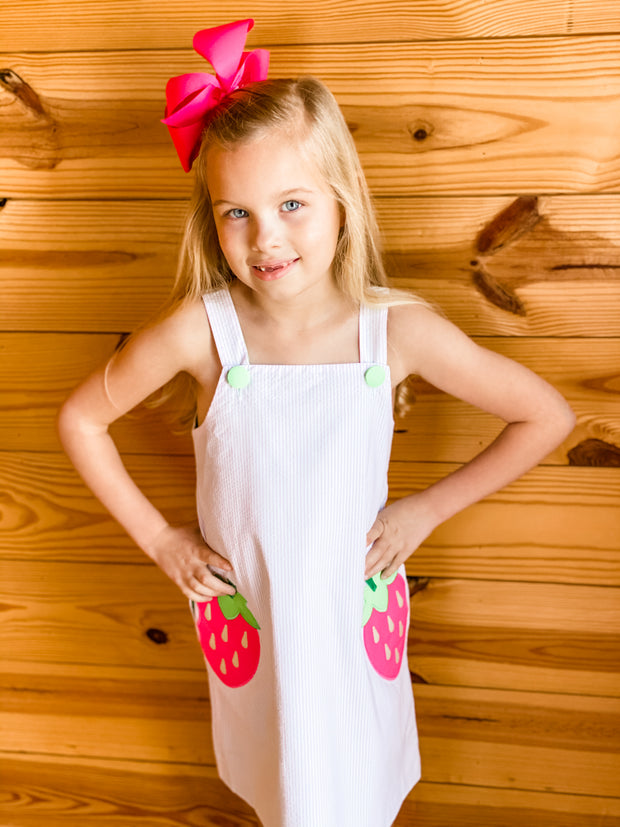 Zuccini Kids Strawberry Appliqué Pink Seersucker Dress