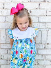 Le' Za Me Pineapple Bib Dress with Embroidered Collar
