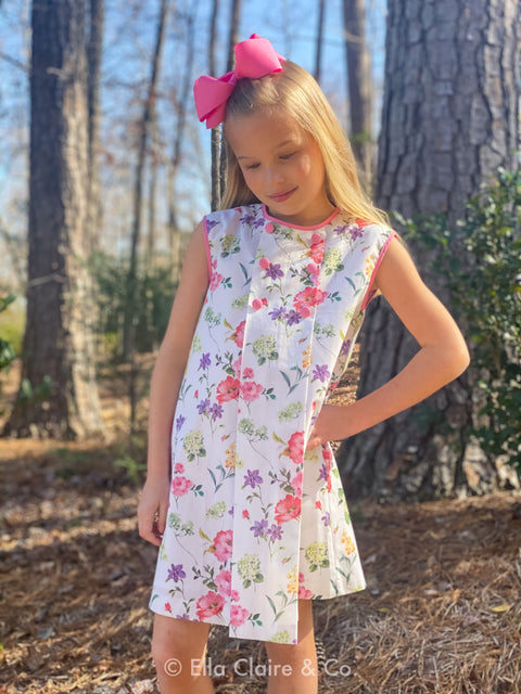 White and Pink Floral Pleated Dress