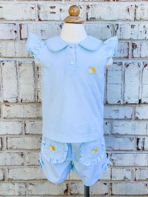 Zuccini Kids Lemon Embroidered Shorts with Bows